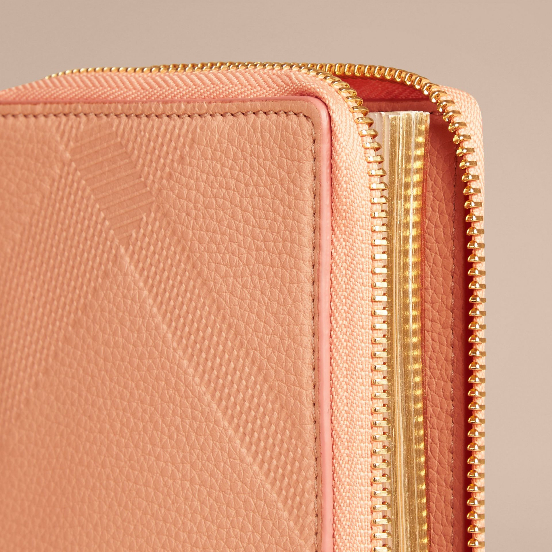 Pink apricot Ziparound Embossed Check Grainy Leather Mini Notebook Pink Apricot - gallery image 2