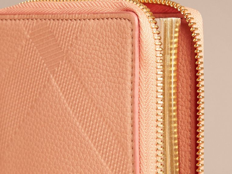 Pink apricot Ziparound Embossed Check Grainy Leather Mini Notebook Pink Apricot - cell image 1