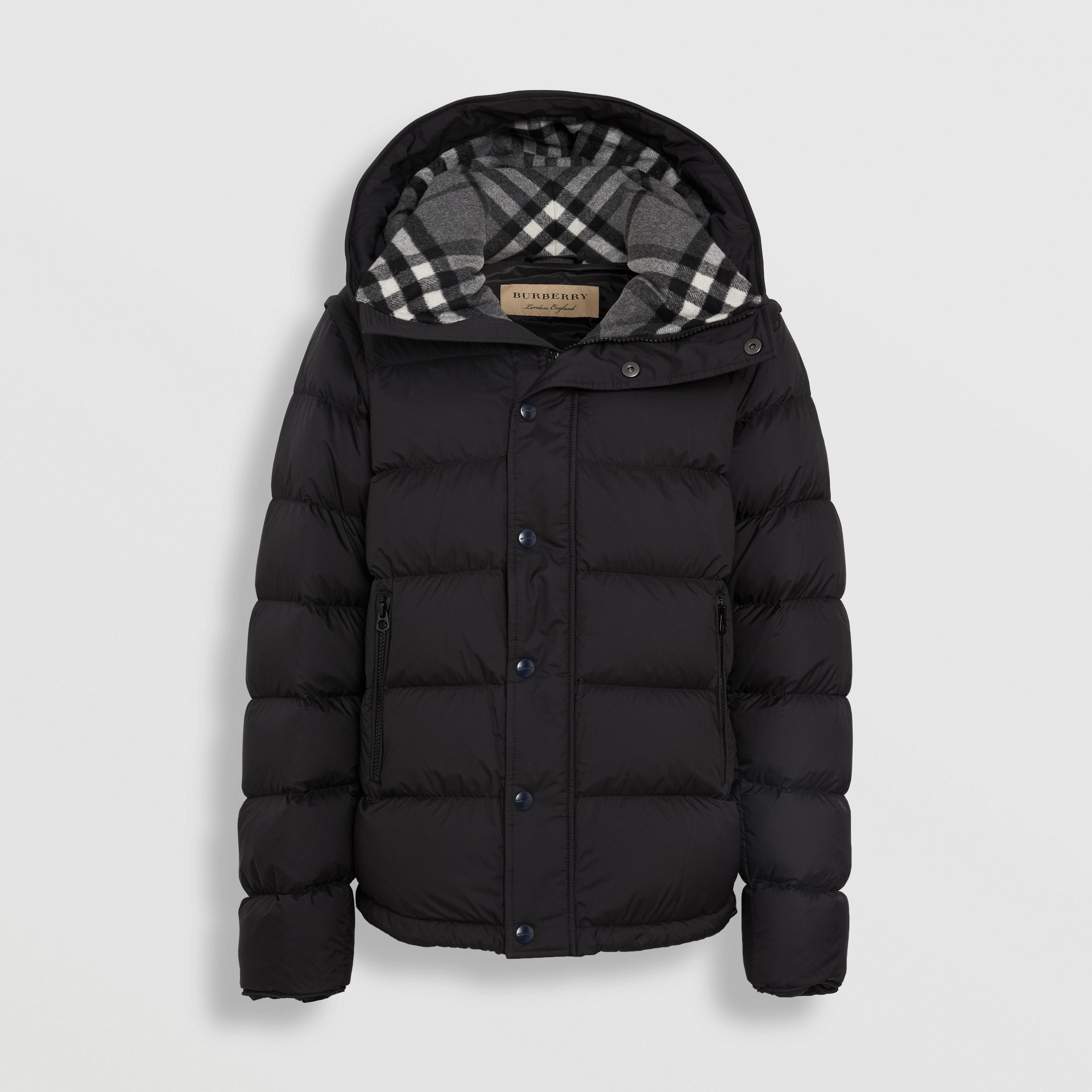 Detachable-sleeve Down-filled Hooded Puffer Jacket in Black - Men | Burberry United States - gallery image 3