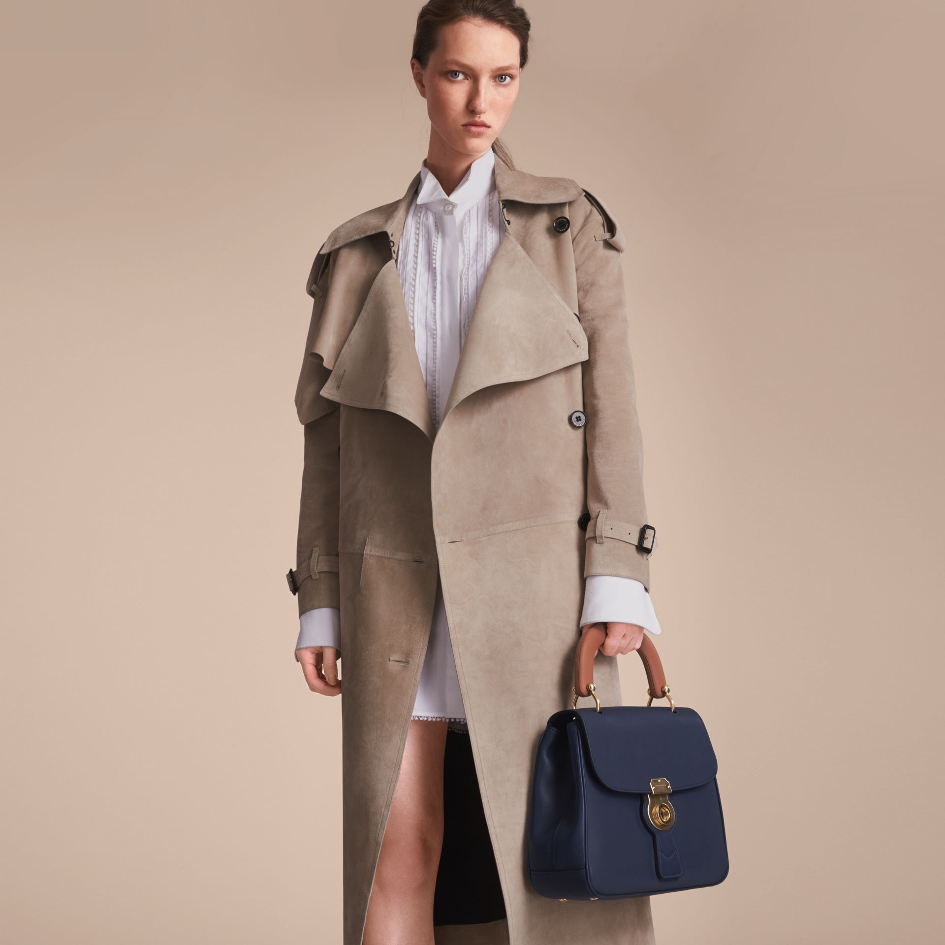 Suede Asymmetric Trench Coat - Women | Burberry - gallery image 7