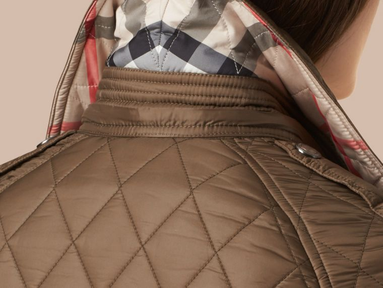 Diamond Quilted Coat Dusty Khaki - cell image 1