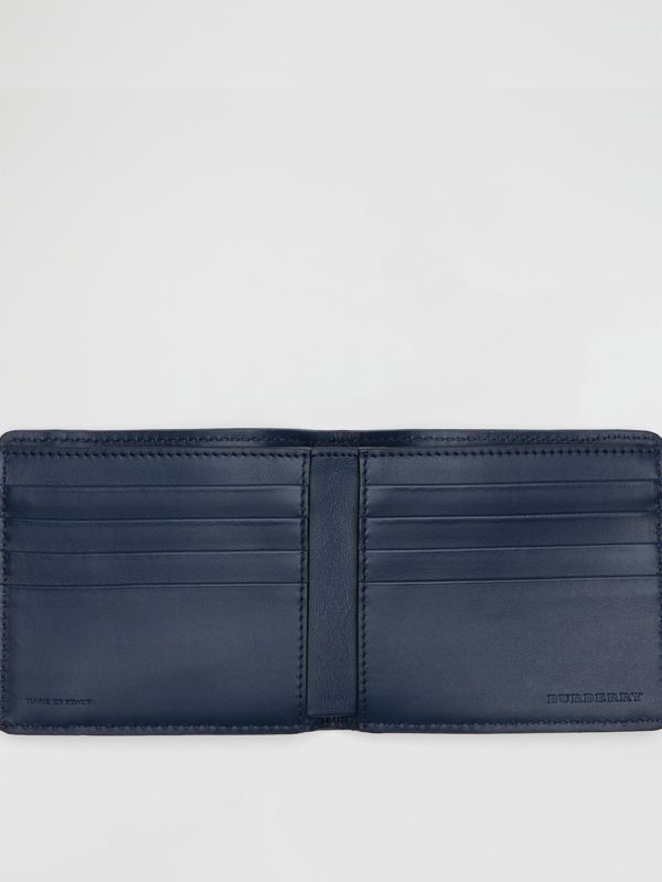 1983 Check and Leather International Bifold Wallet in Ink Blue - Men | Burberry - cell image 3