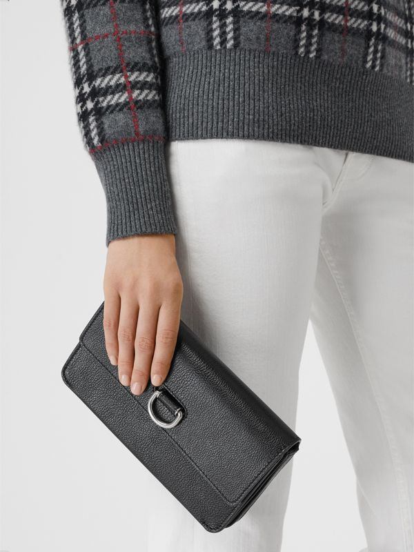 D-ring Leather Wallet with Detachable Strap in Black - Women | Burberry - cell image 3
