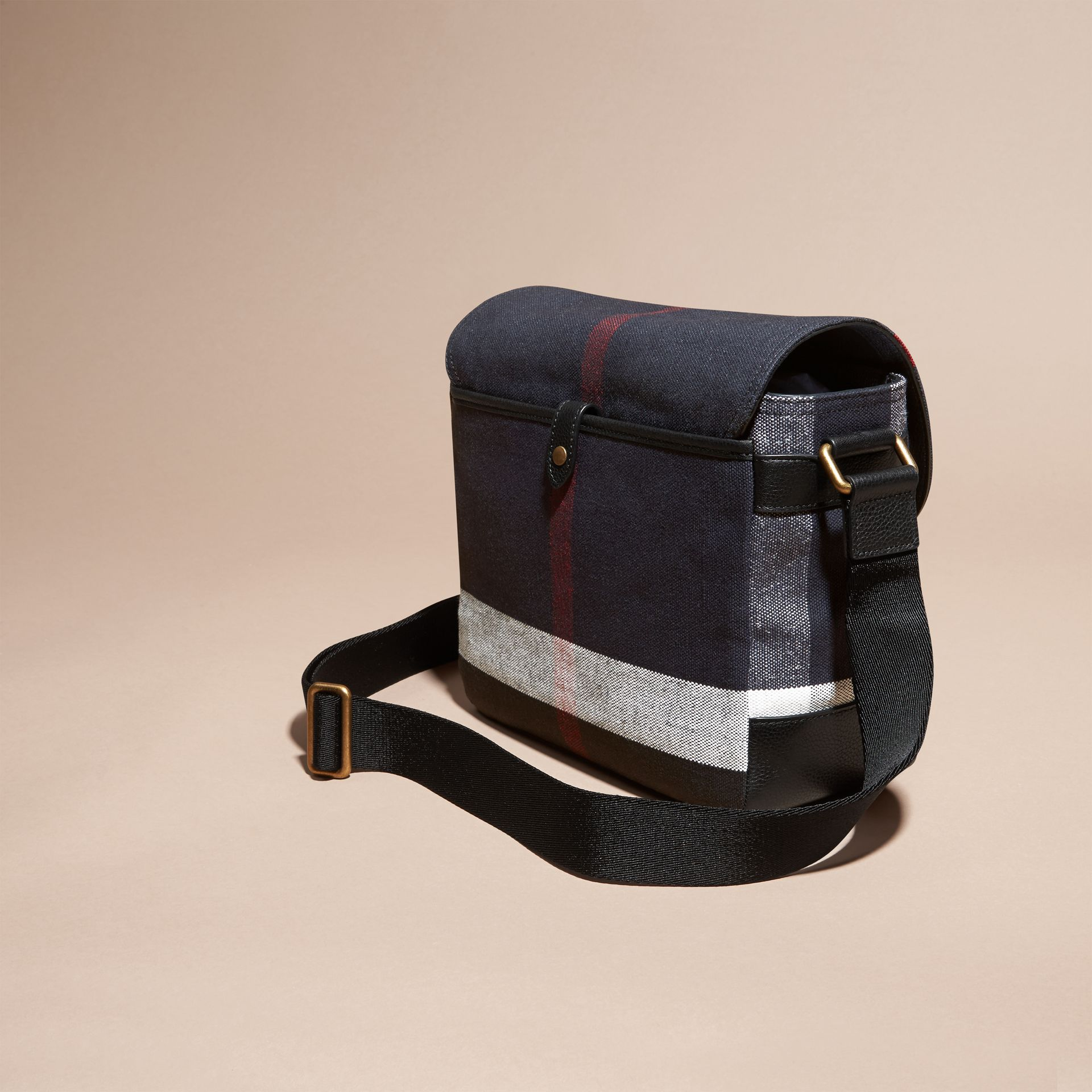 Leather Trim Canvas Check Messenger Bag - gallery image 4