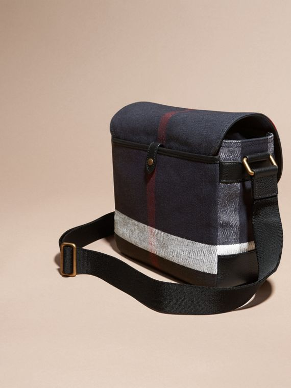 Black Leather Trim Canvas Check Messenger Bag - cell image 3