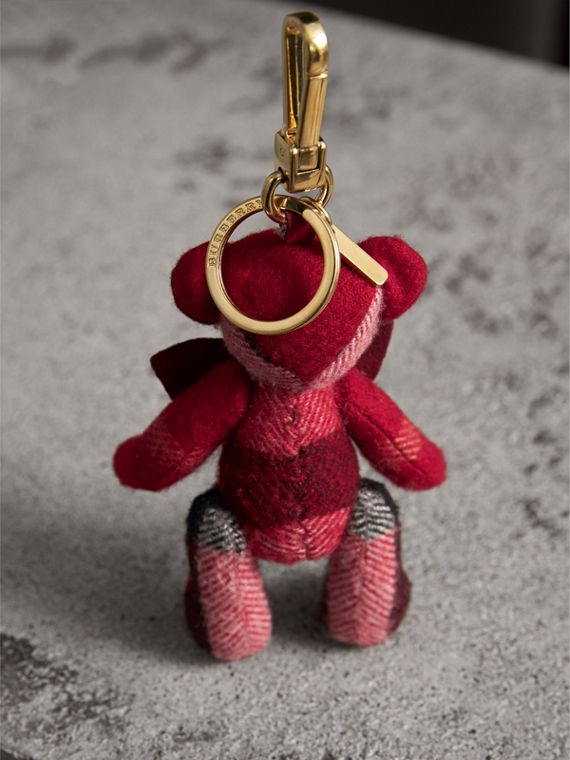 Thomas Bear Charm in Check Cashmere in Parade Red | Burberry - cell image 3