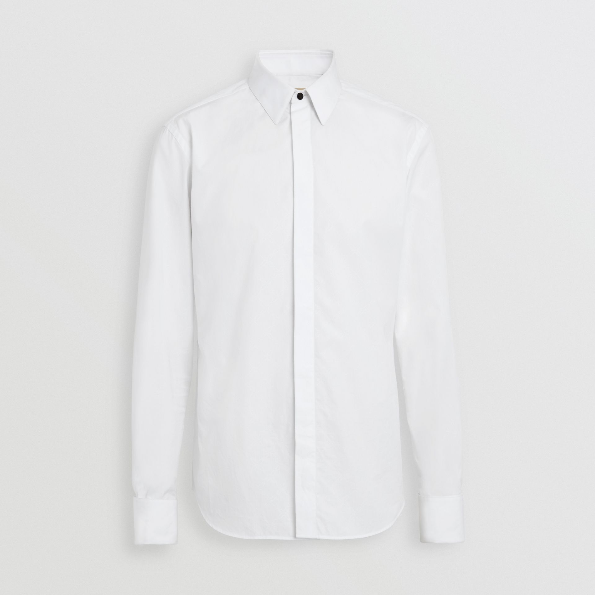 Classic Fit Link Cotton Jacquard Dress Shirt in White - Men | Burberry - gallery image 3