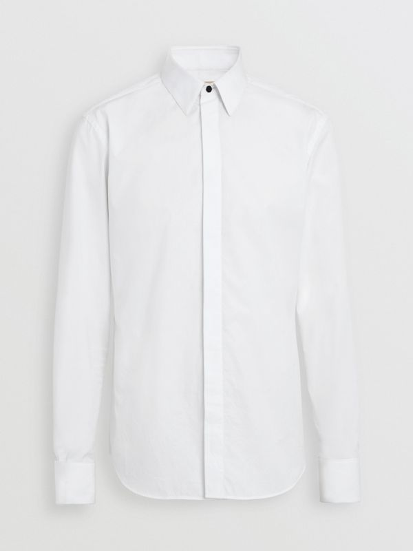 Classic Fit Link Cotton Jacquard Dress Shirt in White - Men | Burberry - cell image 3
