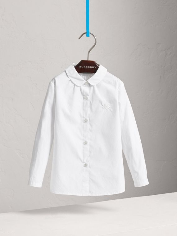 Peter Pan Collar Stretch Cotton Shirt in White - Girl | Burberry - cell image 2