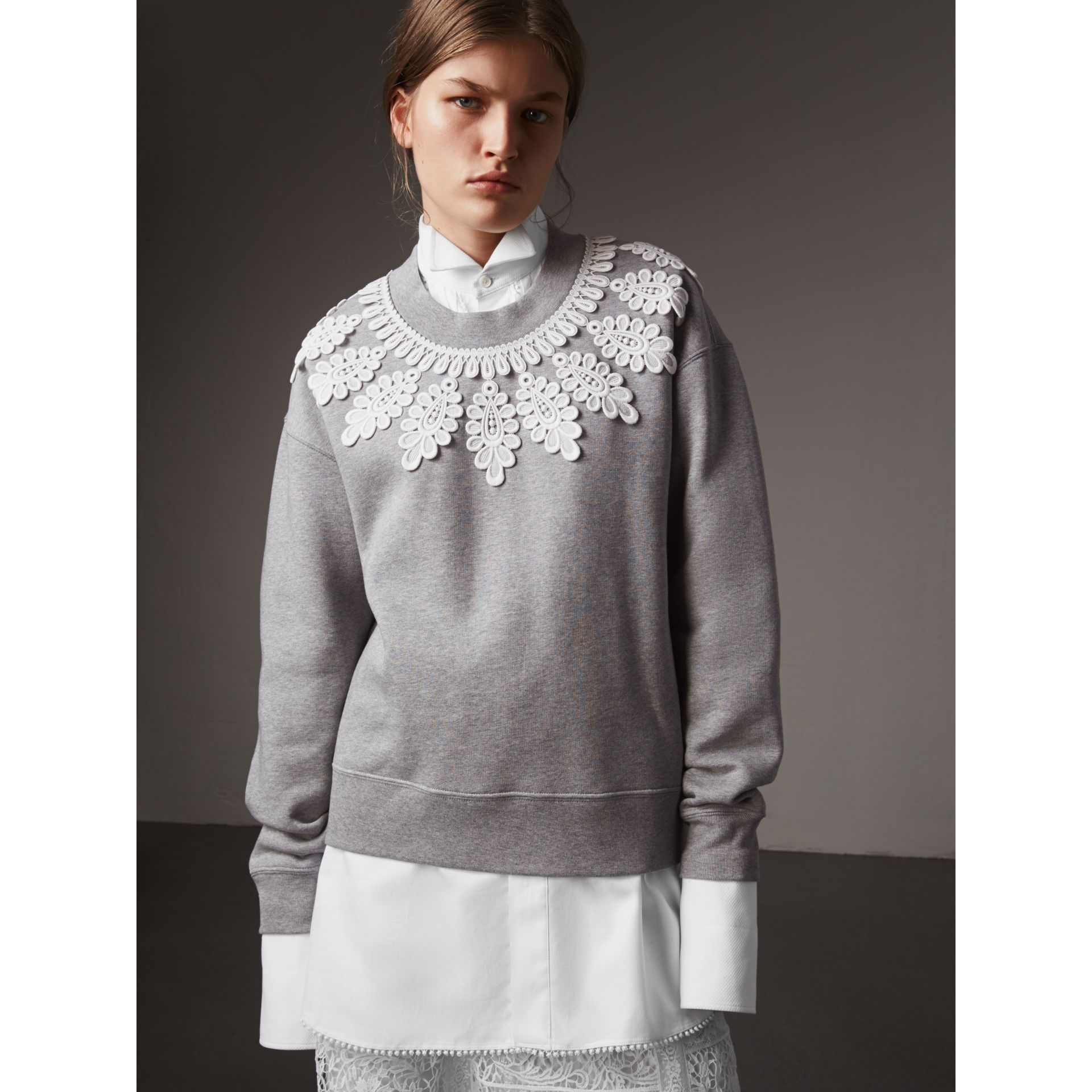 Lace Appliqué Jersey Sweatshirt in Grey Melange - Women | Burberry - gallery image 5