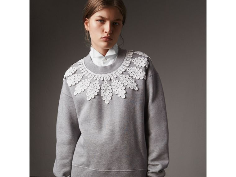 Lace Appliqué Jersey Sweatshirt in Grey Melange - Women | Burberry United Kingdom - cell image 4