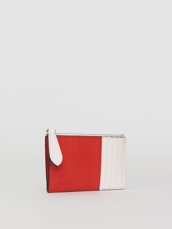 Two-tone Leather Zip Card Case in Bright Red | Burberry - cell image 3