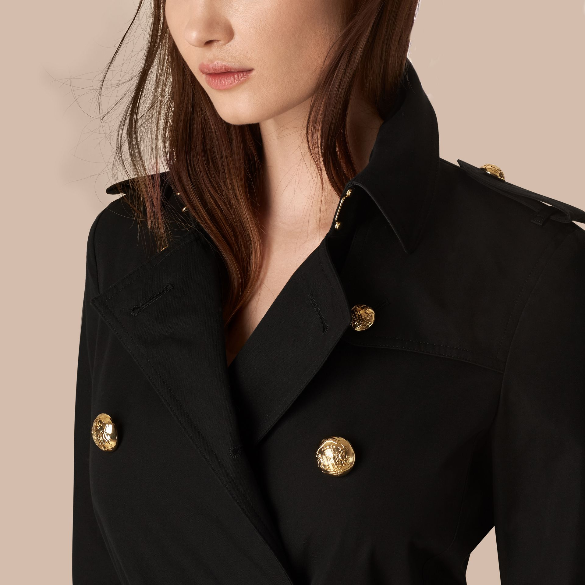 Black Military Button Cotton Gabardine Trench Coat - gallery image 2