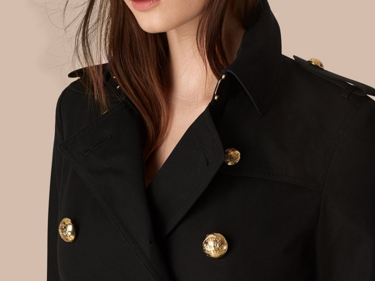 Black Military Button Cotton Gabardine Trench Coat - cell image 1