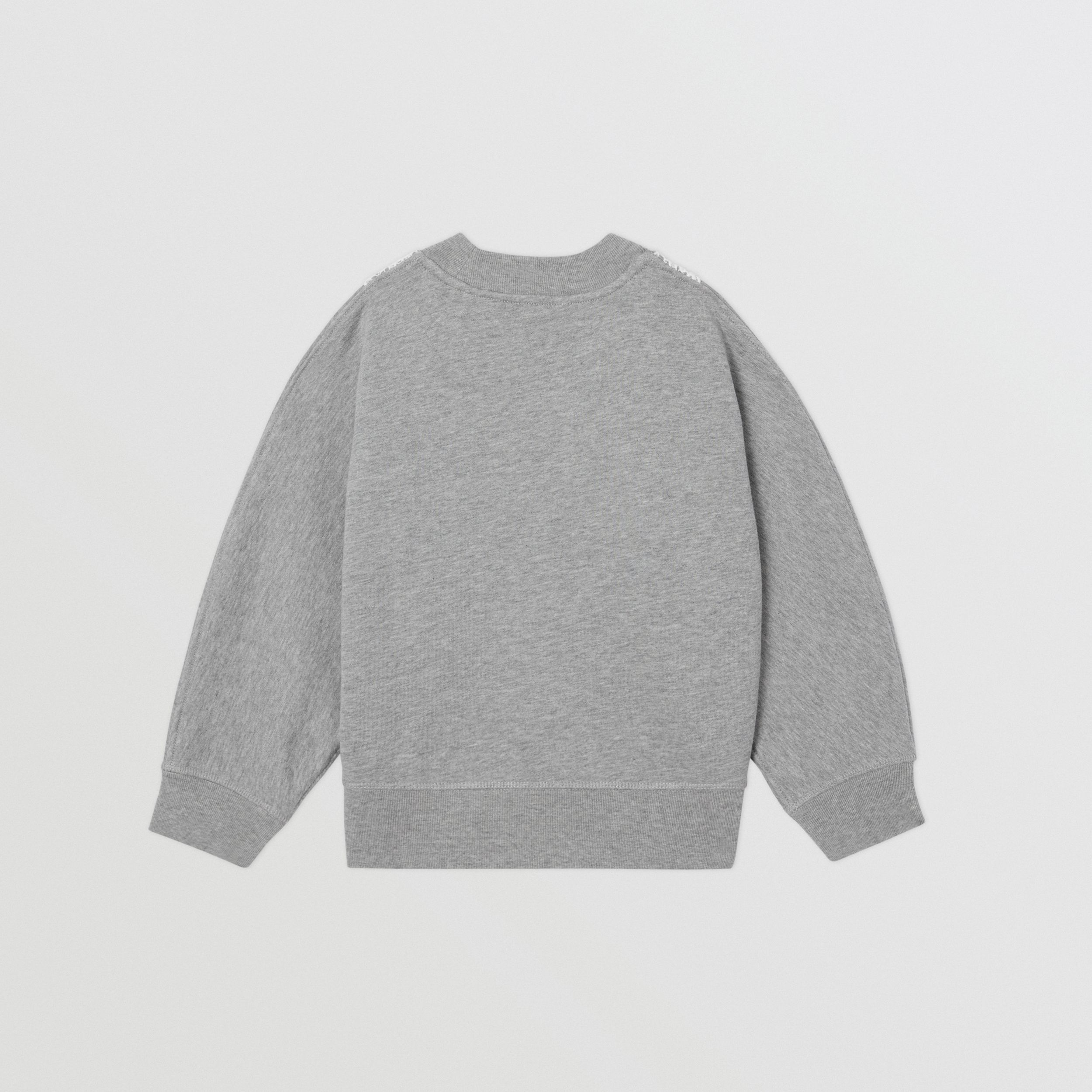 Logo Embroidered Lace Panel Cotton Sweatshirt in Grey Melange | Burberry - 4