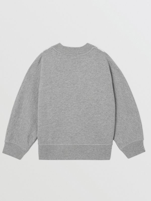 Logo Embroidered Lace Panel Cotton Sweatshirt in Grey Melange | Burberry - cell image 3