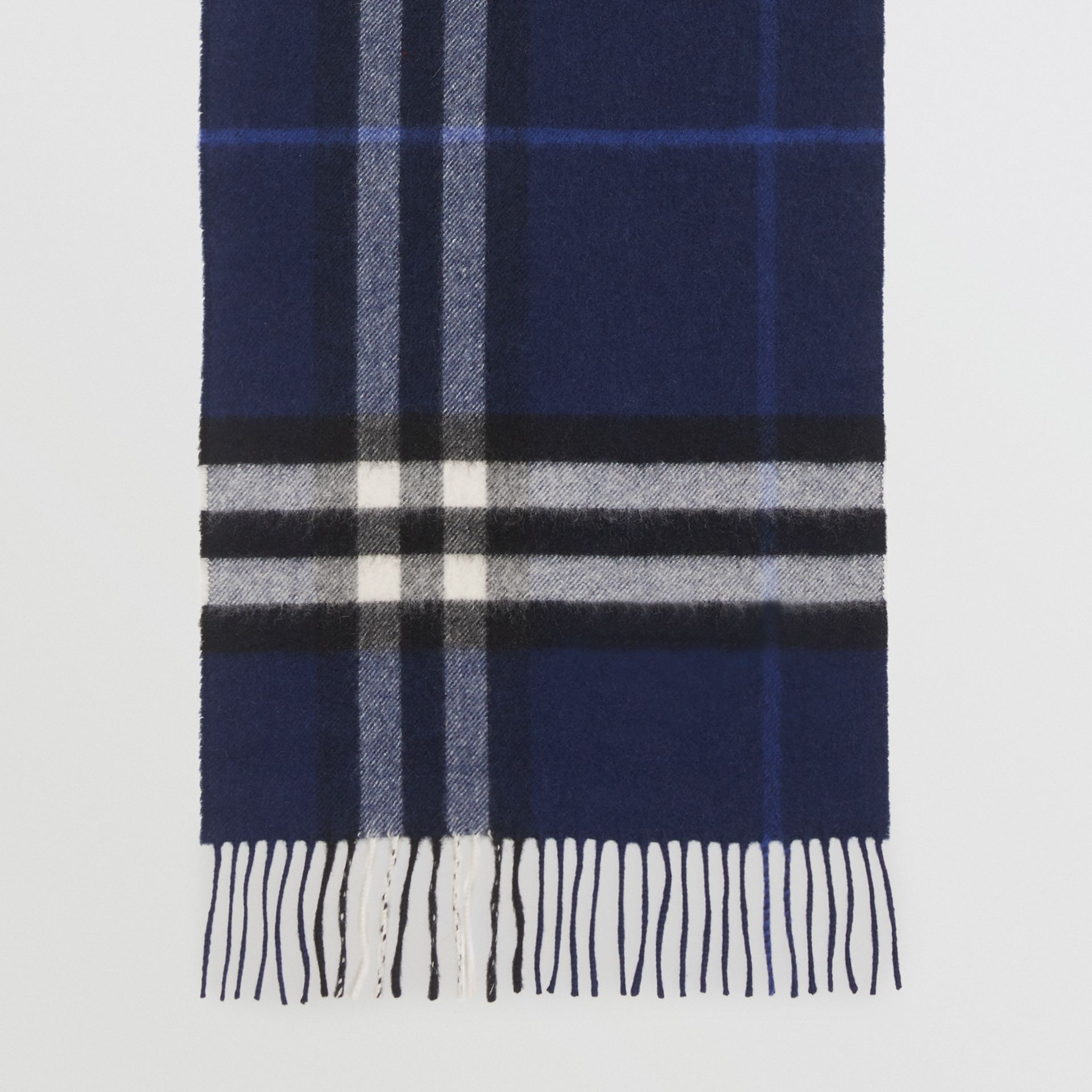 The Classic Check Cashmere Scarf in Indigo Blue | Burberry United Kingdom - gallery image 4