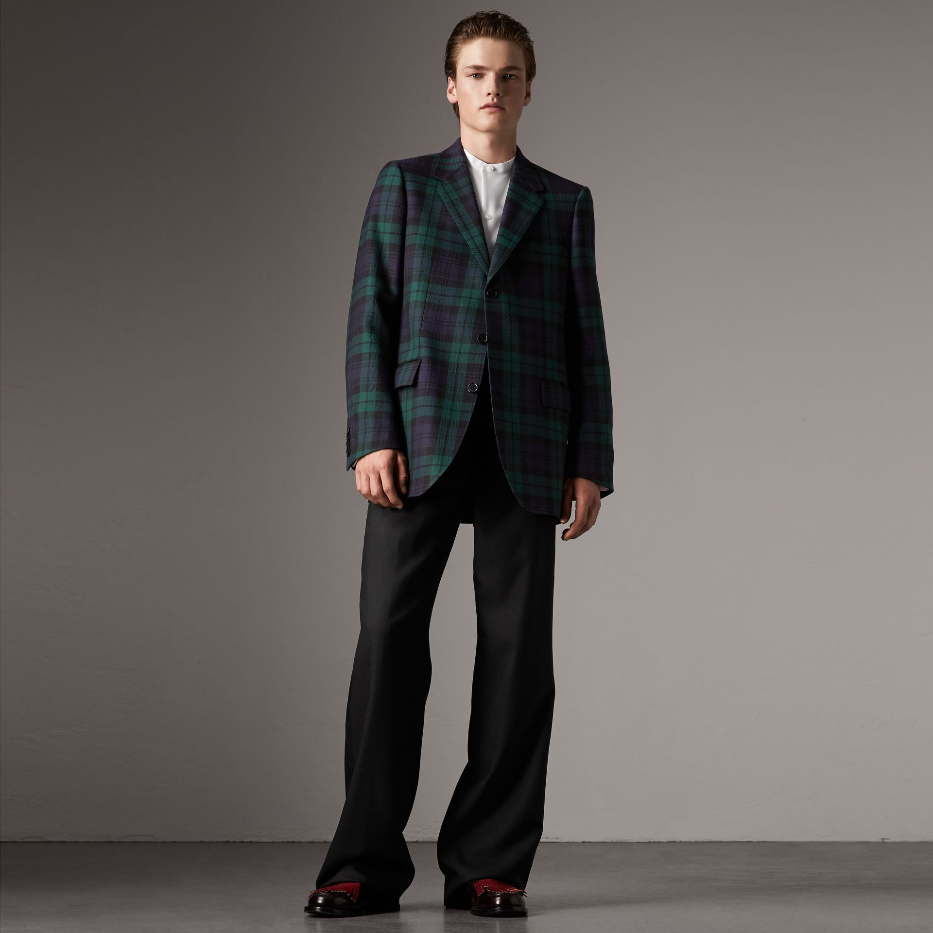 Tartan Wool Tailored Jacket in Bright Navy - Men | Burberry United Kingdom - gallery image 0
