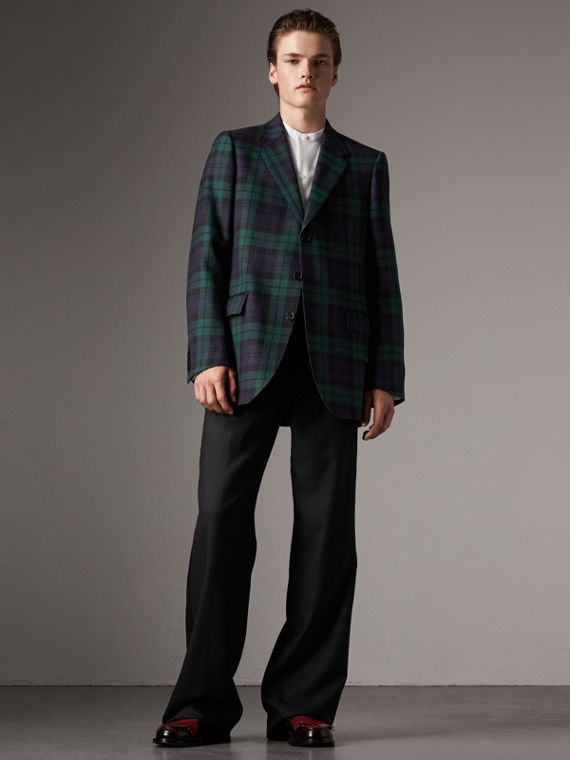 Tartan Wool Tailored Jacket in Bright Navy