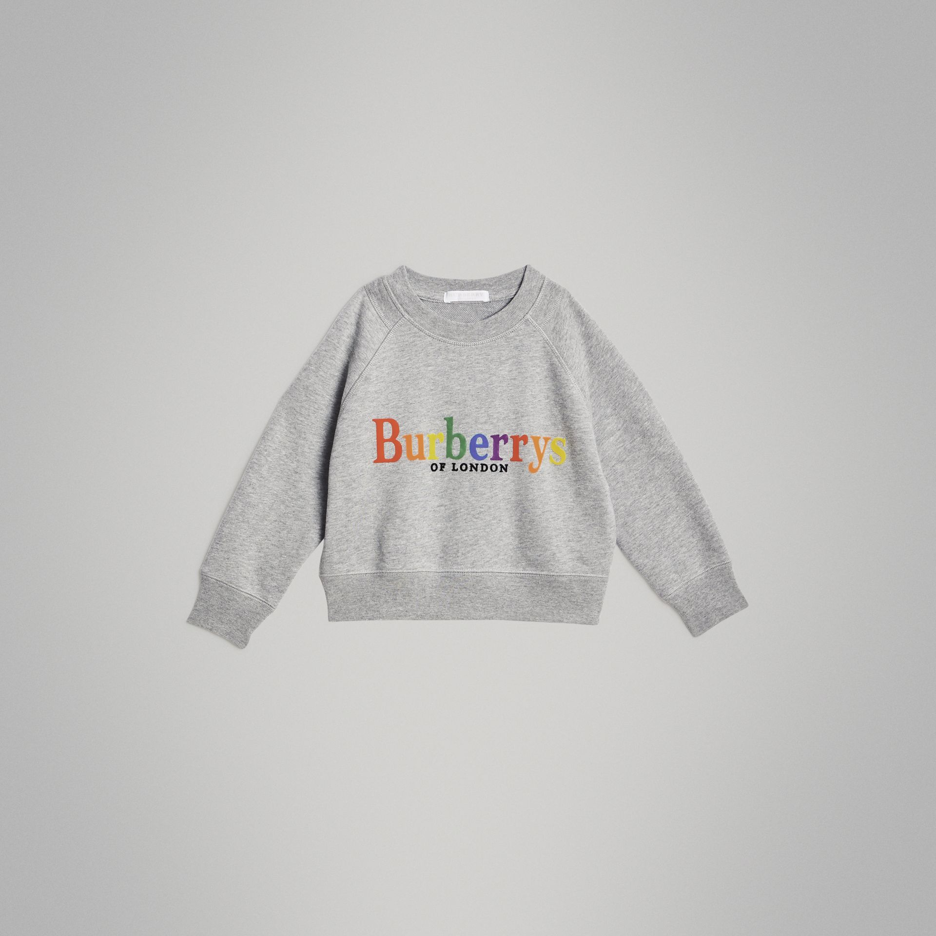 Archive Logo Cotton Jersey Sweatshirt in Grey Melange | Burberry - gallery image 0