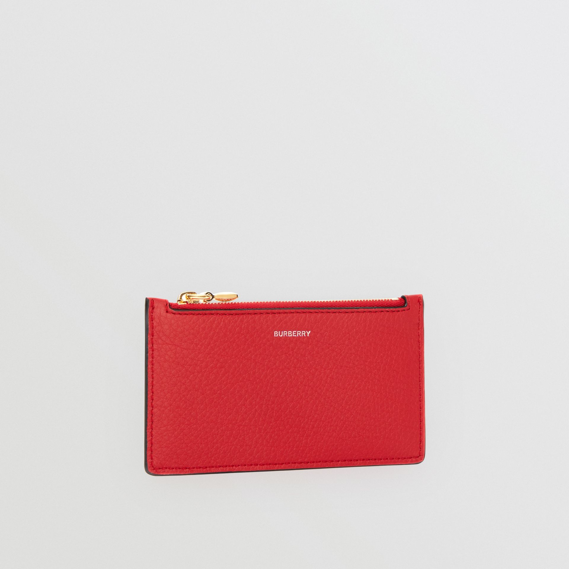 Leather Zip Card Case in Bright Military Red | Burberry - gallery image 3