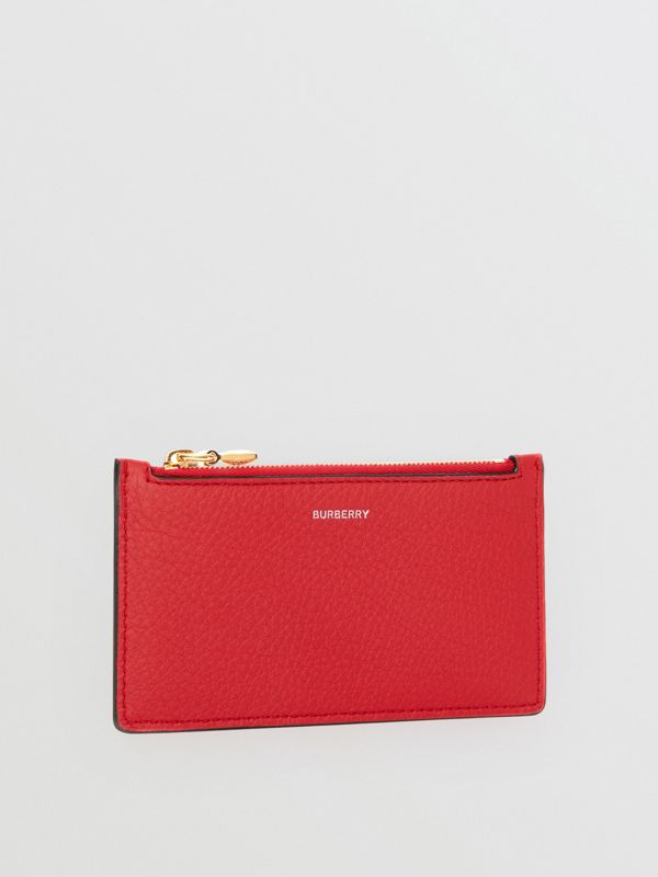 Leather Zip Card Case in Bright Military Red | Burberry - cell image 3
