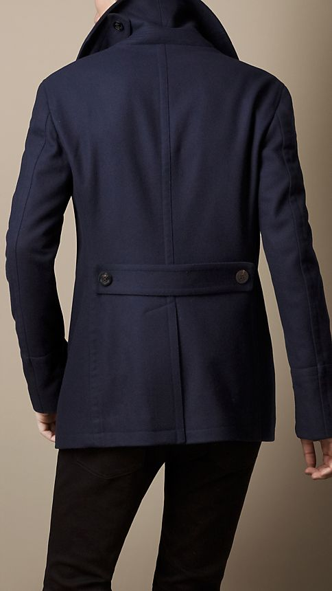 Navy Wool Cashmere Pea Coat - Image 4