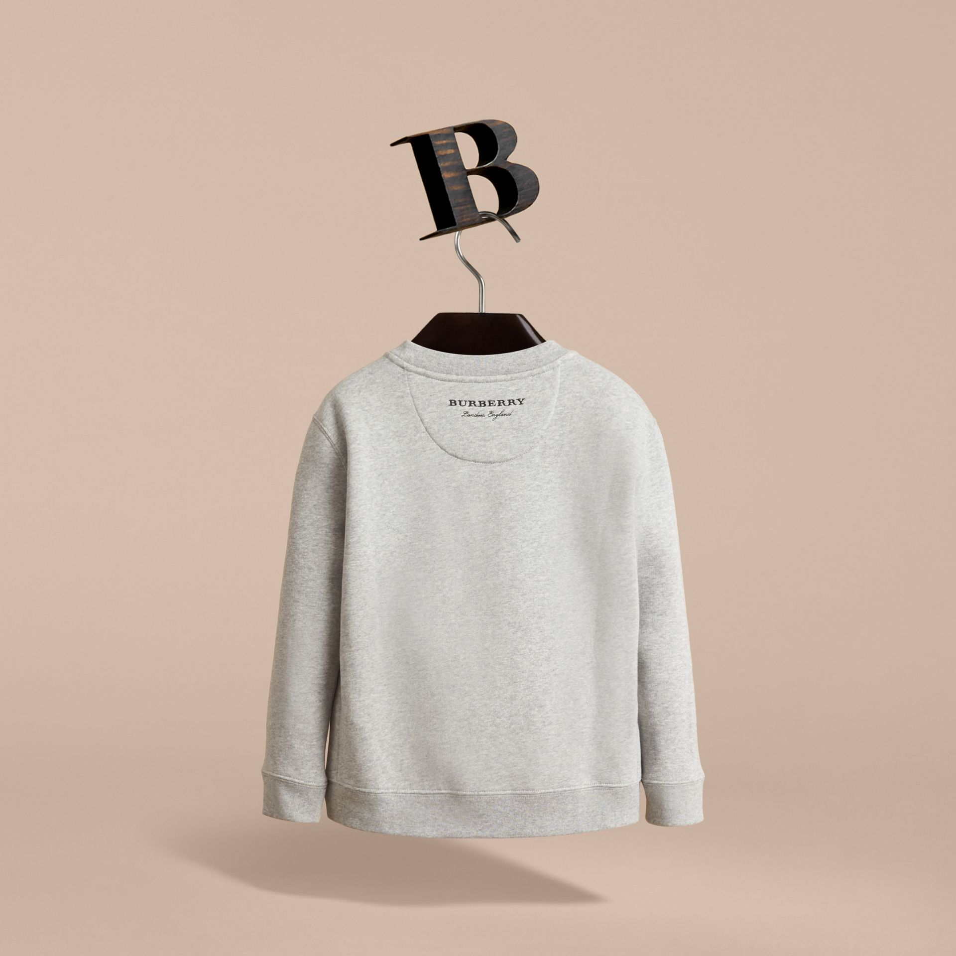 Striped Cotton Silk Panel Sweatshirt in Grey Melange - Boy | Burberry - gallery image 4