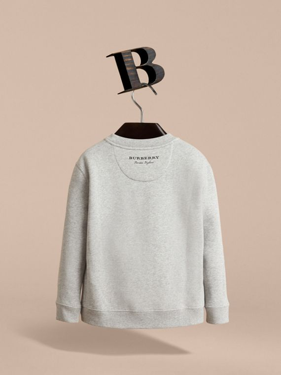 Striped Cotton Silk Panel Sweatshirt in Grey Melange - Boy | Burberry - cell image 3