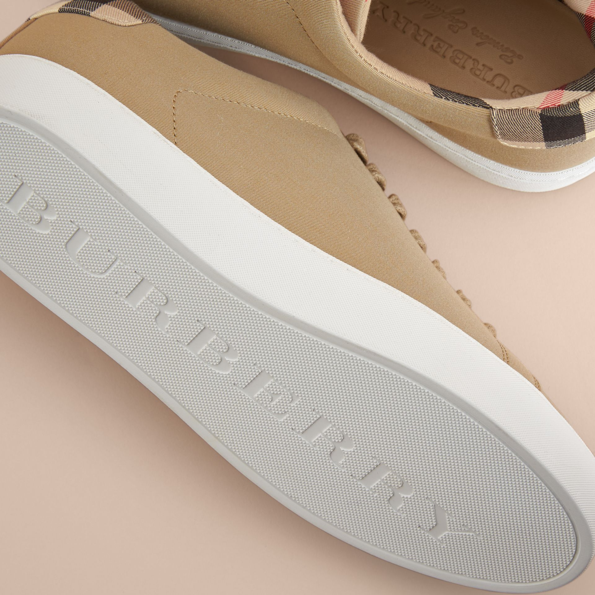 Check Detail Cotton Trainers in Honey - Women | Burberry - gallery image 5