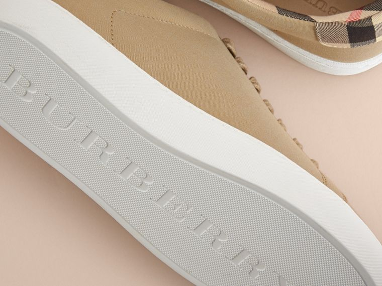 Check Detail Cotton Trainers in Honey - Women | Burberry - cell image 4
