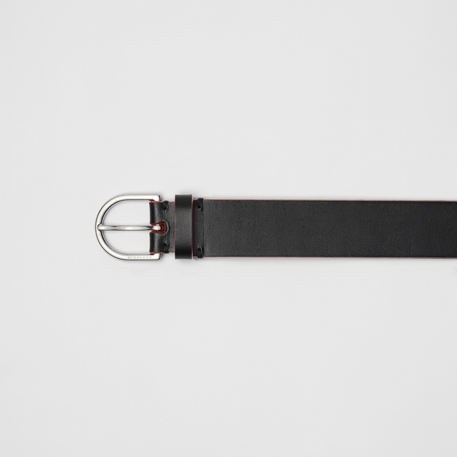 Contrast Edge Leather D-ring Belt in Black/red - Men | Burberry United States - gallery image 1