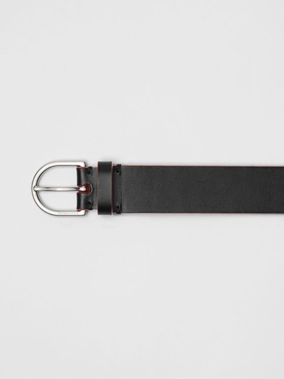 Contrast Edge Leather D-ring Belt in Black/red - Men | Burberry United States - cell image 1