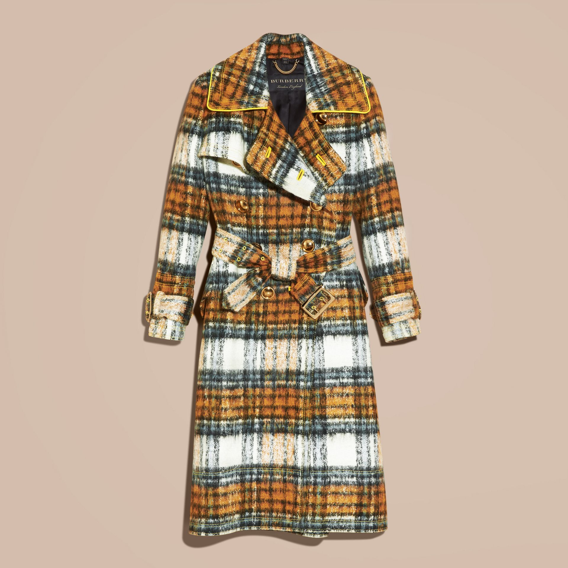 Orange amber Tartan Brushed Wool Mohair Coat - gallery image 4