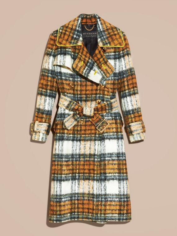 Orange amber Tartan Brushed Wool Mohair Coat - cell image 3