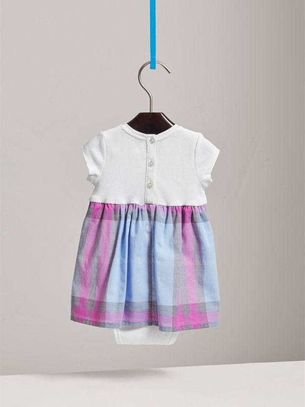 Check Cotton Jersey T-shirt Dress in Chalk Blue | Burberry - cell image 3