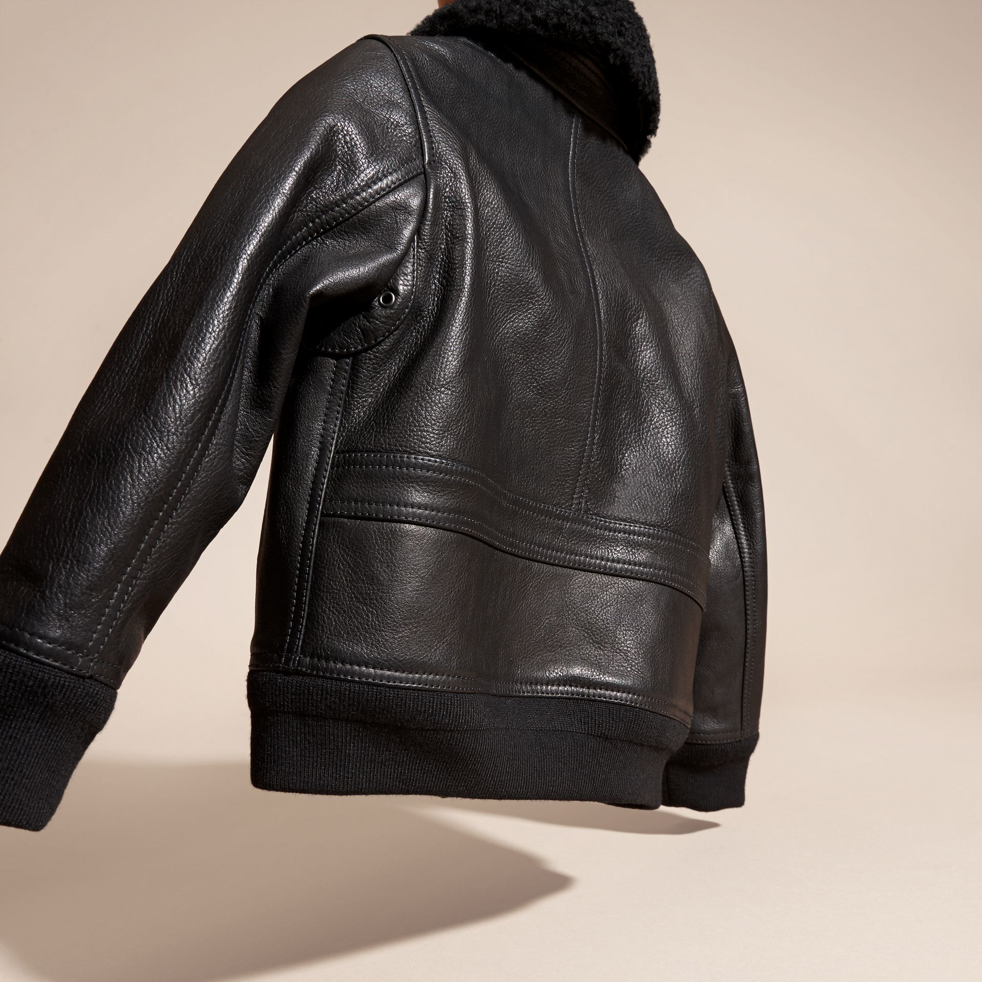Black Leather Blouson with Detachable Shearling Collar - gallery image 4