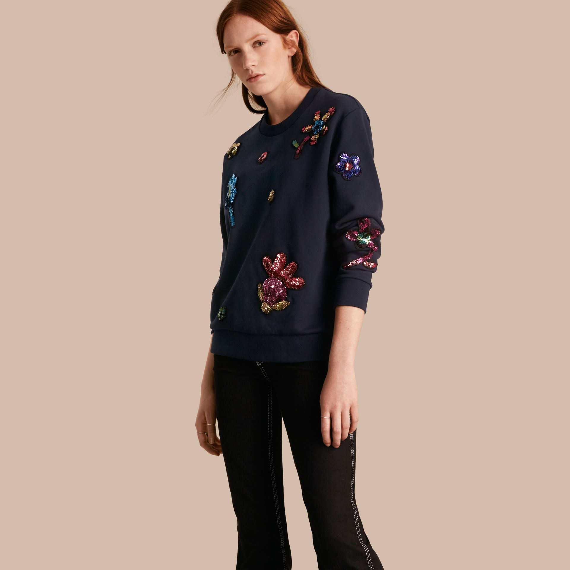 Navy Sequin Floral Appliqué Cotton Sweatshirt - gallery image 1
