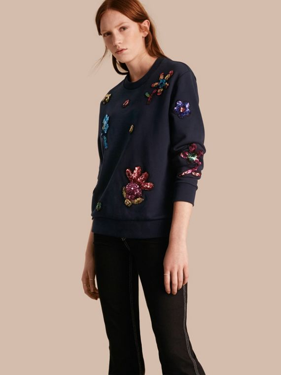 Sequin Floral Appliqué Cotton Sweatshirt Navy