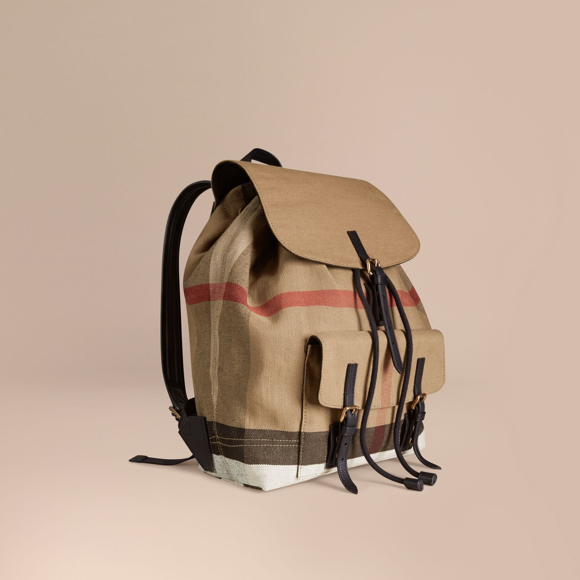 Black Canvas Check Backpack - gallery image 1