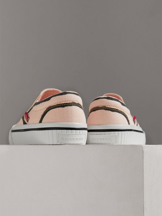 Scribble Print Slip-on Sneakers in Pale Rose Pink | Burberry Canada - cell image 2