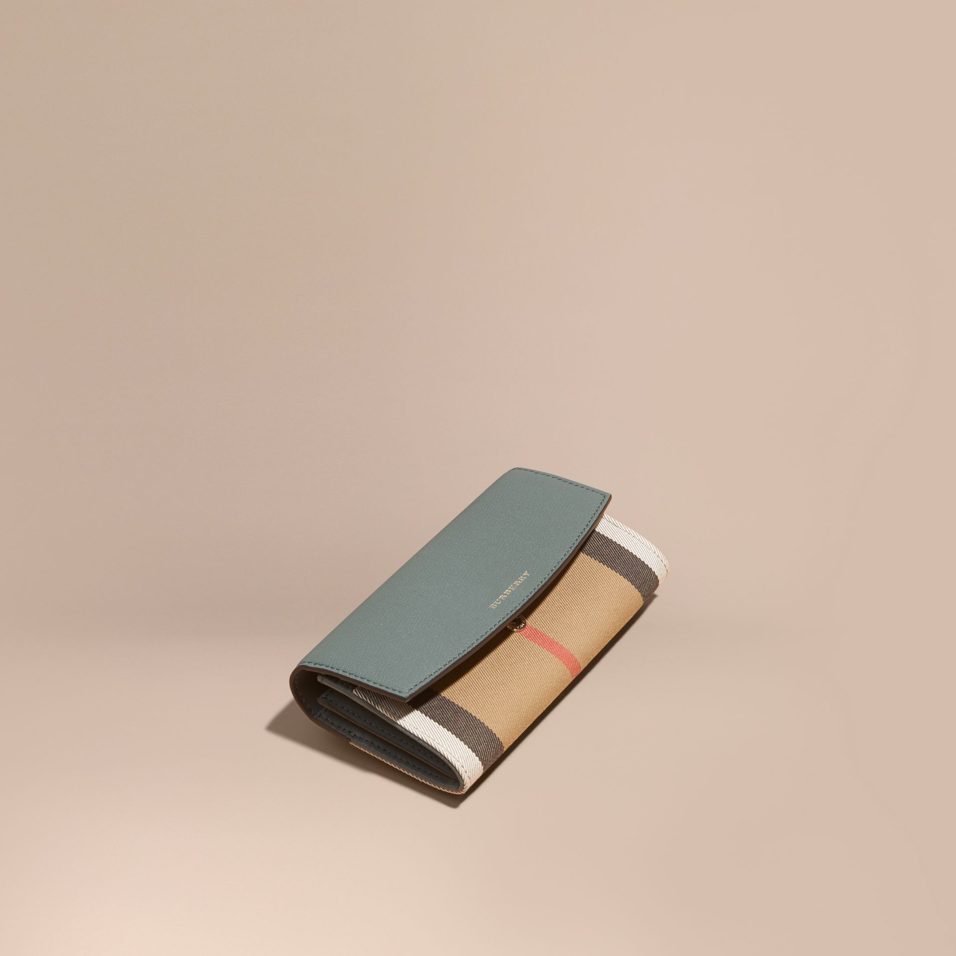 House Check and Leather Continental Wallet in Smokey Green - gallery image 1