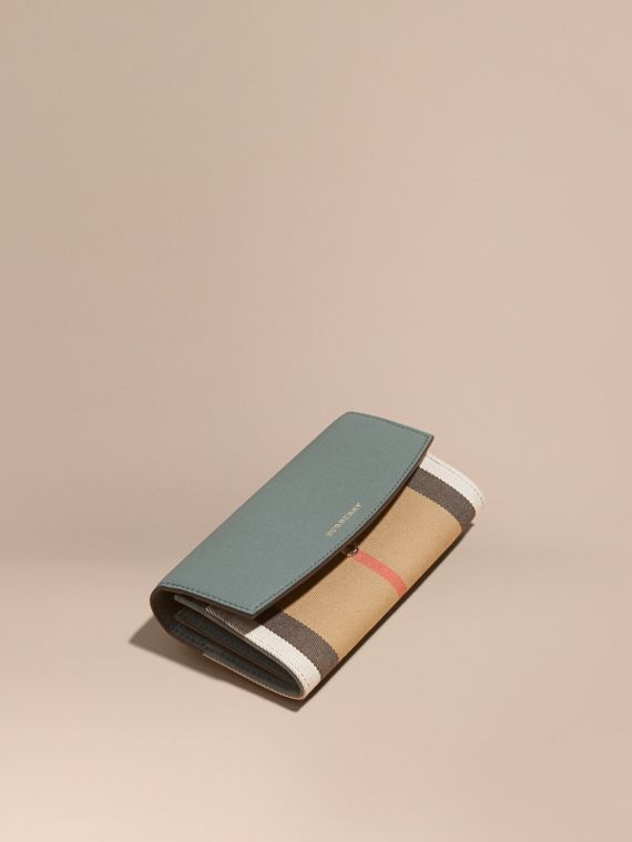 House Check and Leather Continental Wallet in Smokey Green