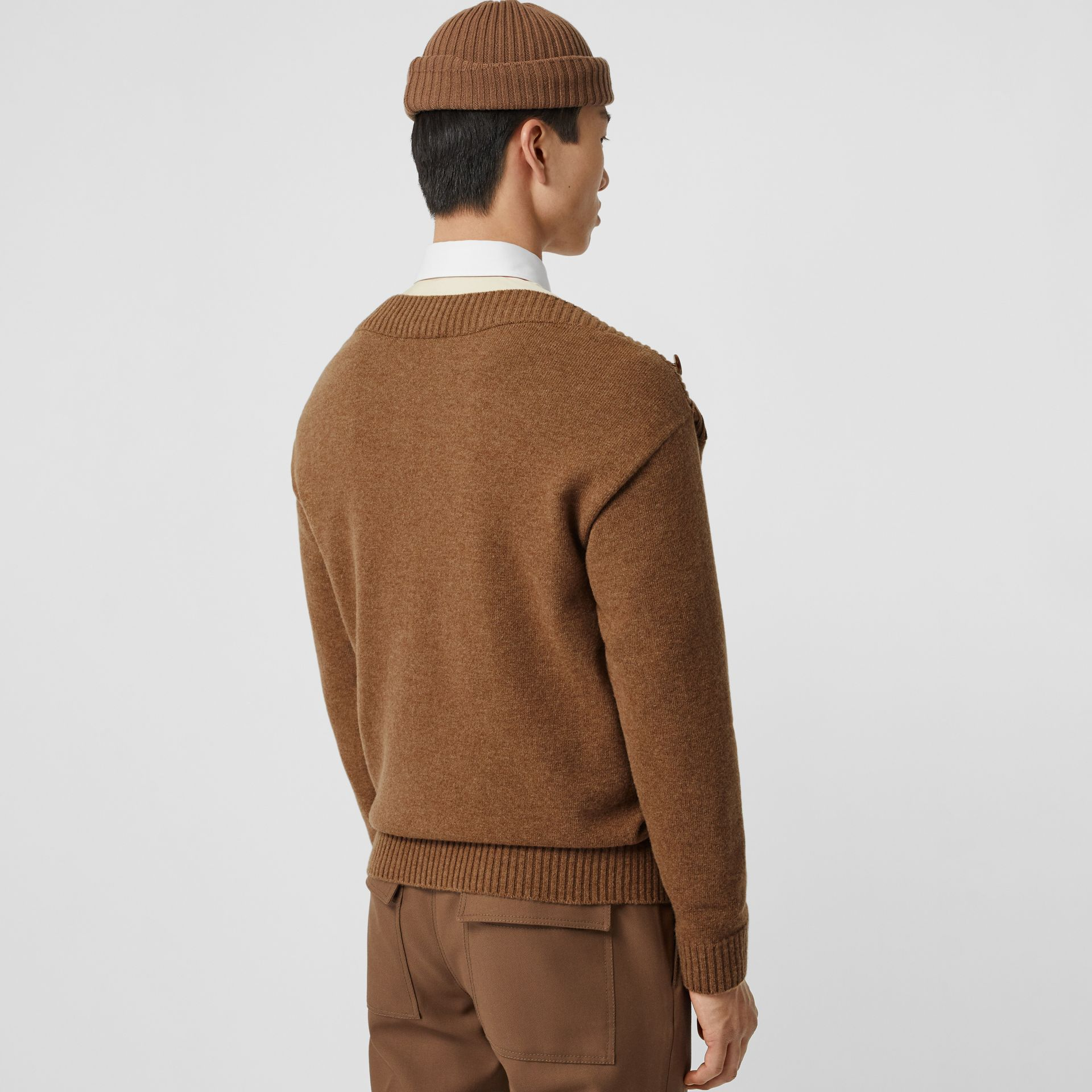 Boat Neck Wool Sweater in Dark Walnut - Men | Burberry - gallery image 2