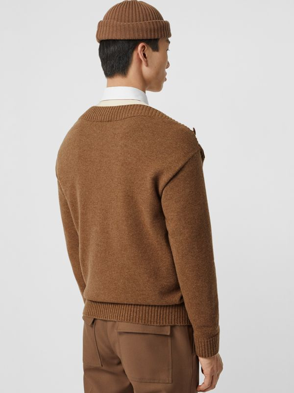 Boat Neck Wool Sweater in Dark Walnut - Men | Burberry - cell image 2