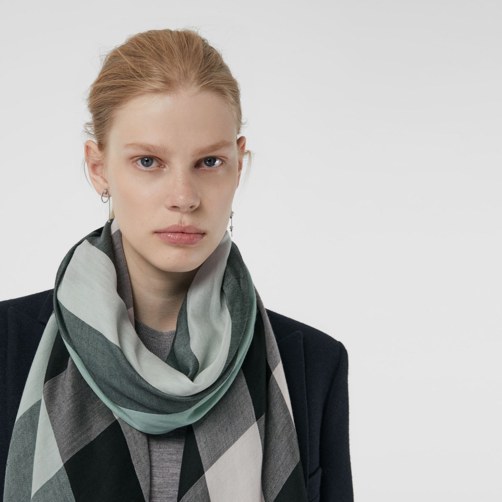 Lightweight Check Cashmere Scarf in Dusty Mint | Burberry Australia - gallery image 5