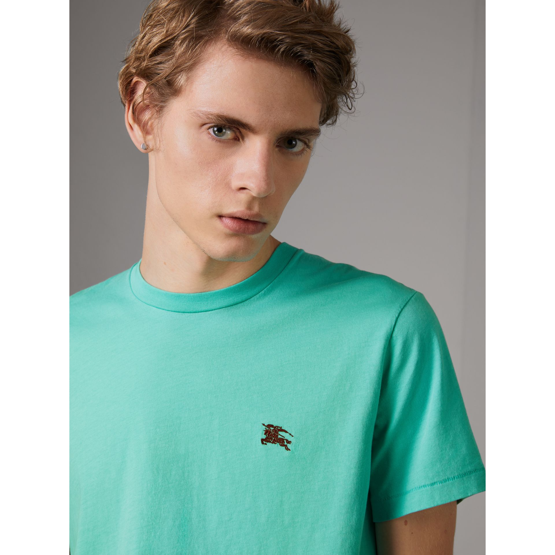 Cotton Jersey T-shirt in Turquoise - Men | Burberry United Kingdom - gallery image 0