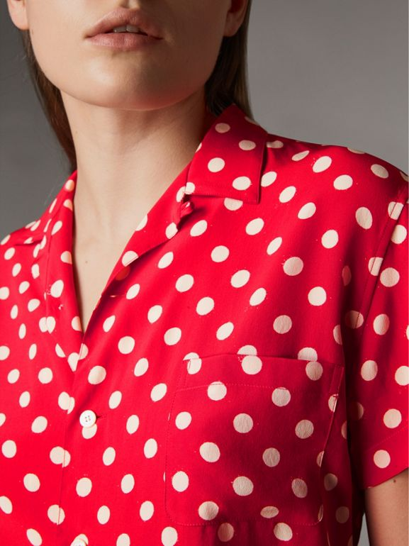 Short-sleeve Polka-dot Silk Shirt in Bright Orange Red - Women | Burberry - cell image 1