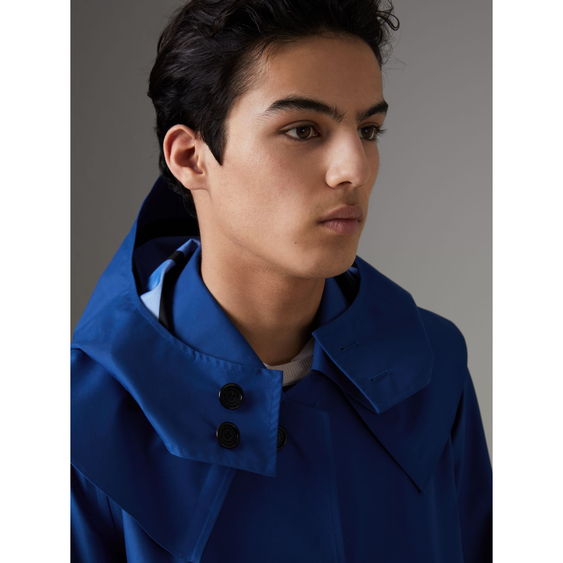 Detachable Hood Showerproof Car Coat in Bright Navy - Men | Burberry United Kingdom - gallery image 1