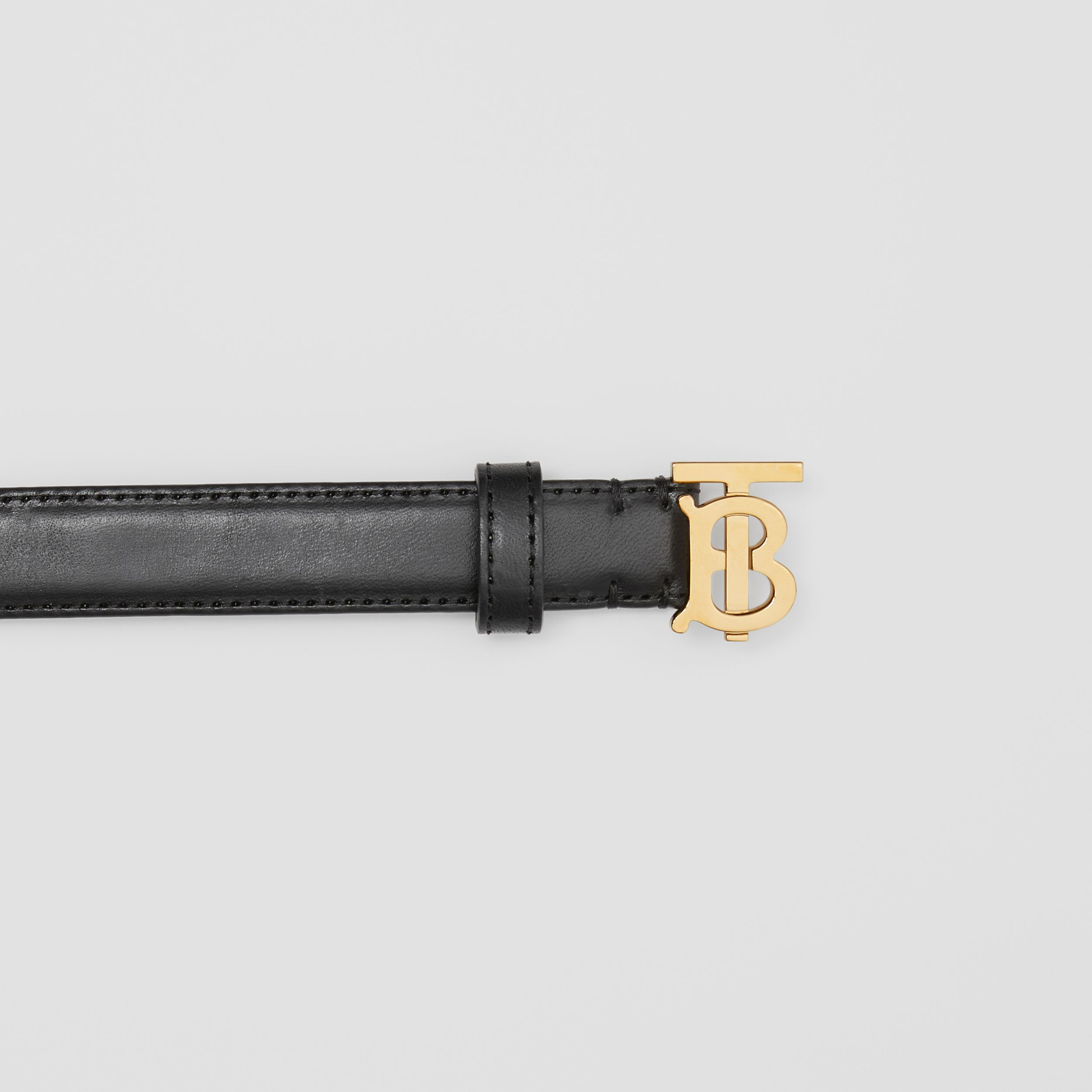 Monogram Motif Leather Belt in Black/light Gold - Women | Burberry - 2